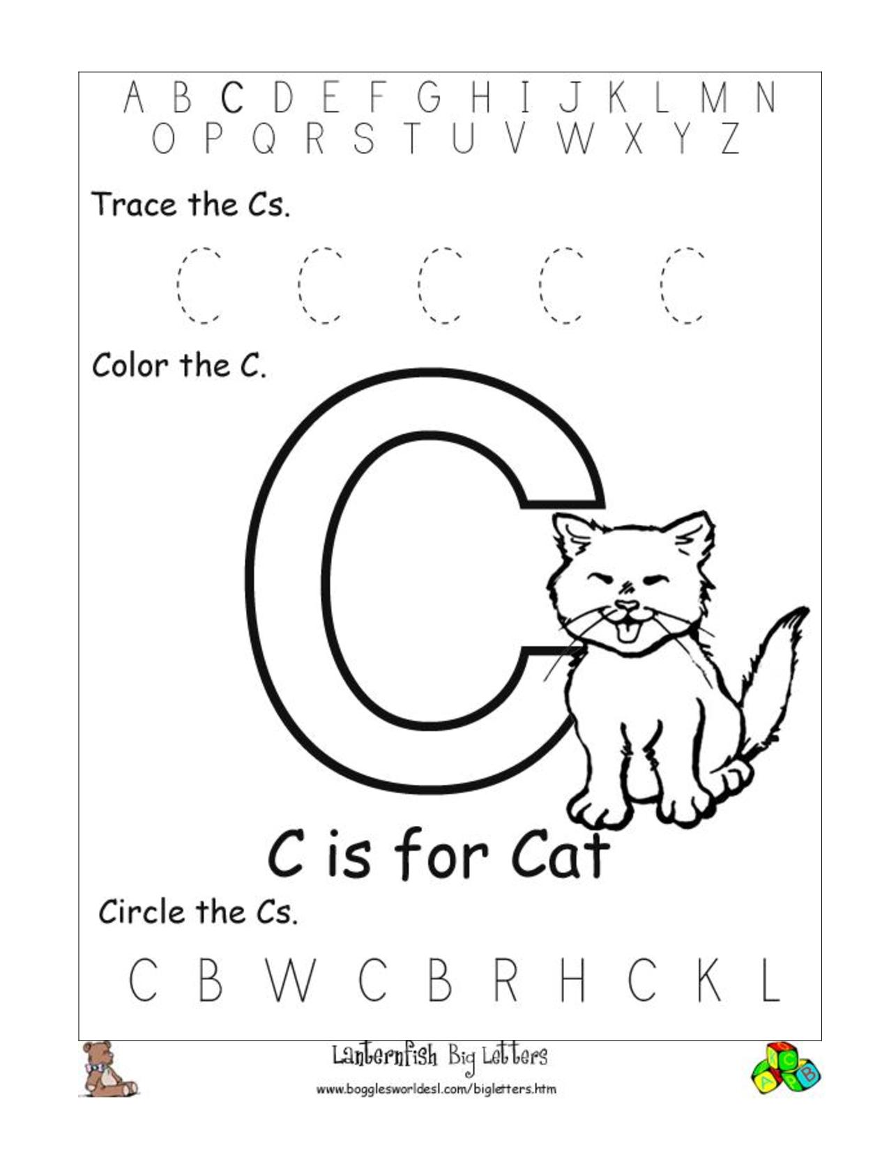 6 Best Images Of Free Printable Preschool Worksheets Letter C | Day - Free Printable Pre K Activities