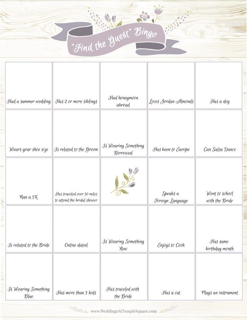 6 Bridal Shower Game Ideas (Free Printables In 2019 | Bridal Shower - Find The Guest Game Free Printable