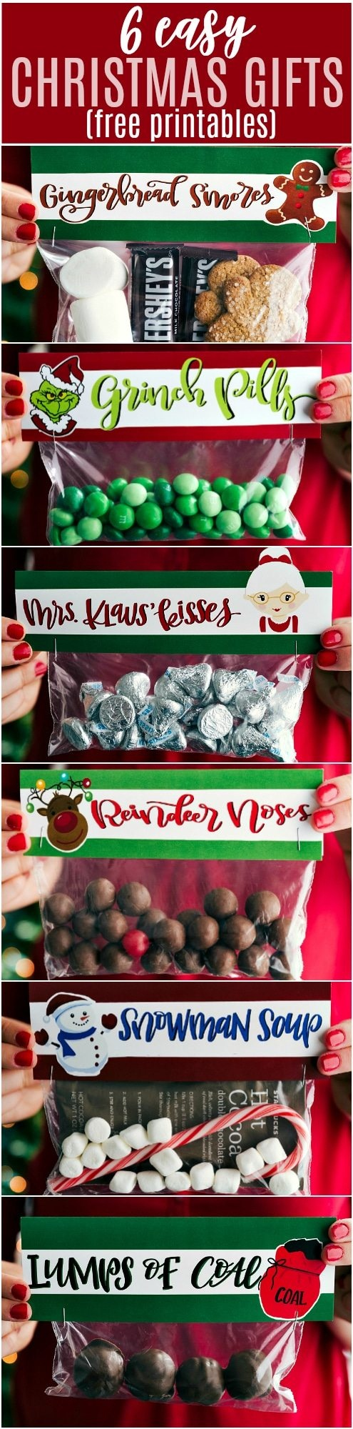 6 Easy Christmas Gifts {Free Printables}   Chelsea's Messy Apron - Free Printable Christmas Bag Toppers