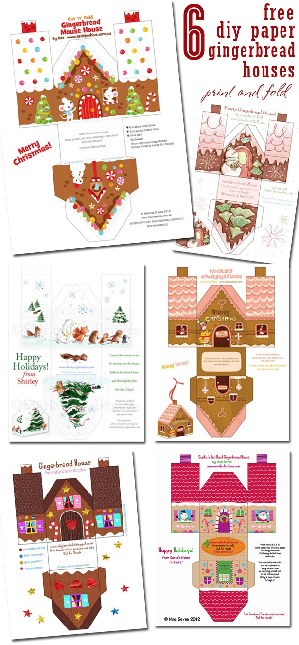 6 Free Diy Paper Gingerbread Houses • The Celebration Shoppe - Free Printable Gingerbread House