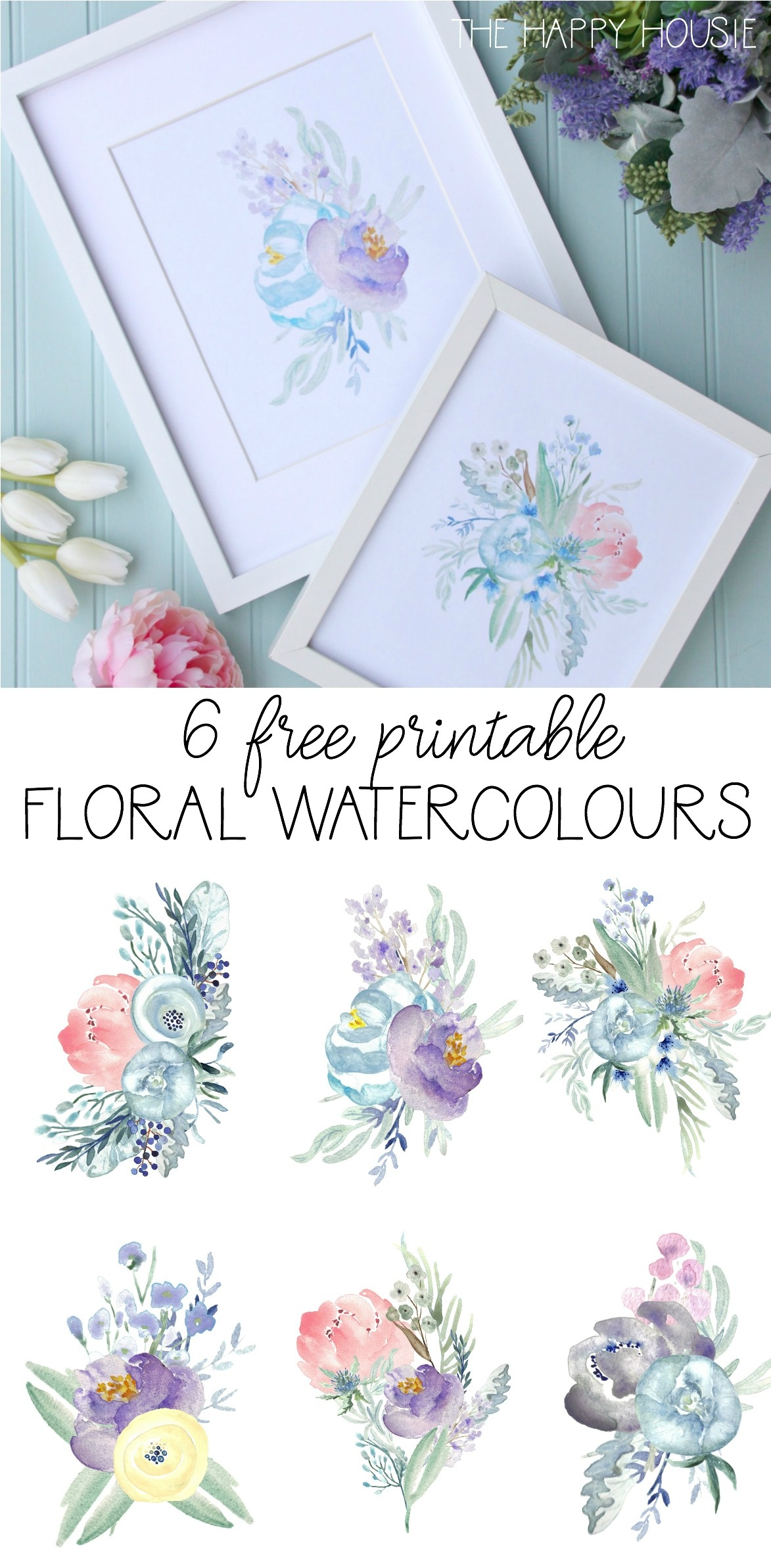 6 Free Printable Floral Watercolour Designs | The Happy Housie - Free Watercolor Printables