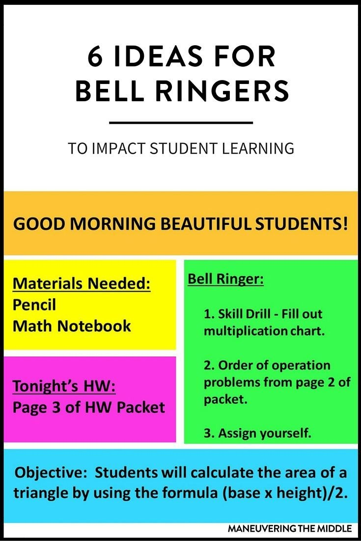 6 Ideas For Bell Ringers | New Teachers | Middle School Teachers - Free Printable Bell Ringers