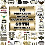 60Th Birthday Photo Booth Props Black And Gold Over 70 Adult | Etsy   Free Printable 70's Photo Booth Props