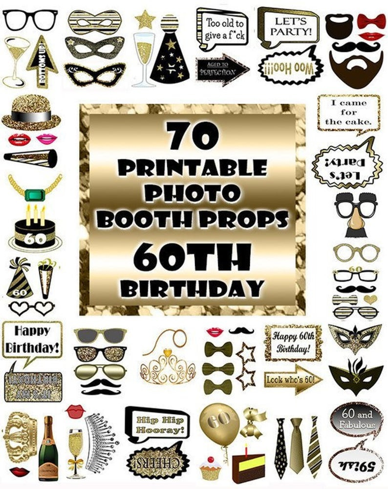 60Th Birthday Photo Booth Props Black And Gold Over 70 Adult | Etsy - Free Printable 70's Photo Booth Props