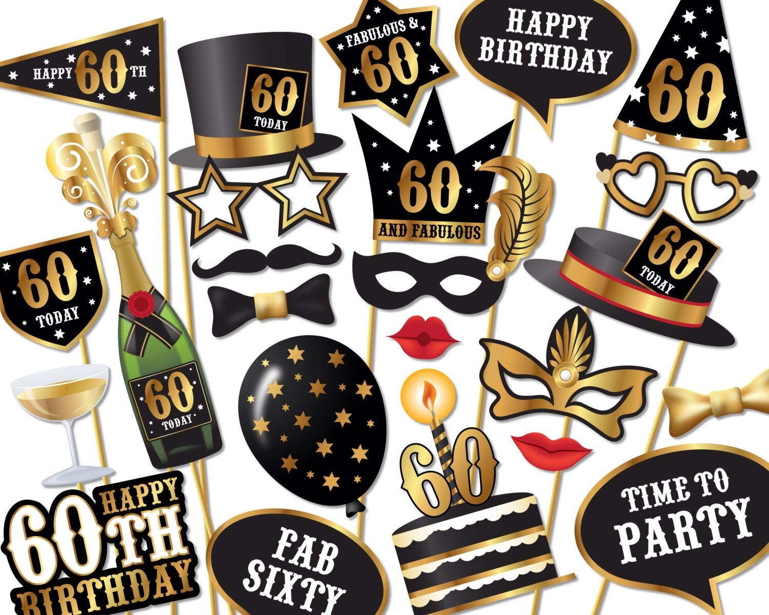 60Th Birthday Photo Booth Props - Instant Download Printable Pdf - Free Printable 30Th Birthday Photo Booth Props