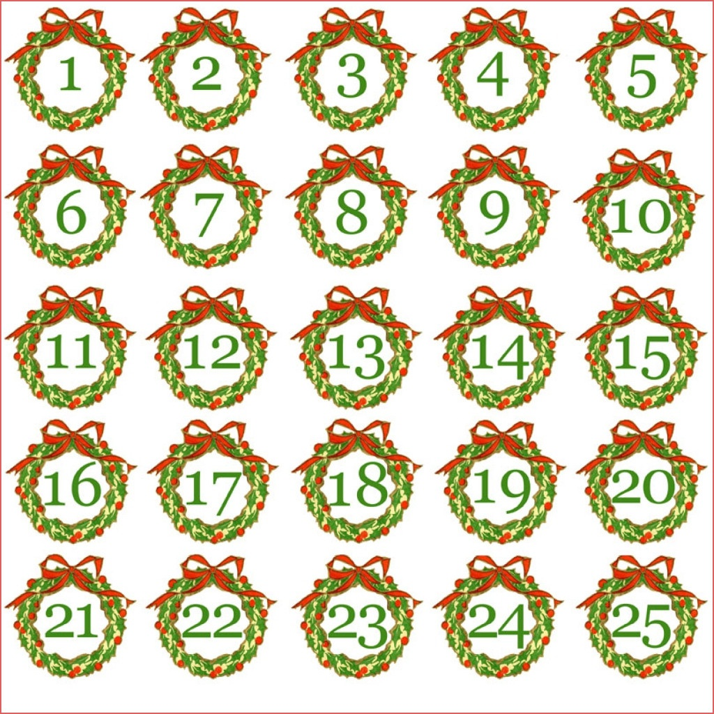 7 Best Images Of Christmas Printable Number Stickers Printable - Free Printable Advent Numbers