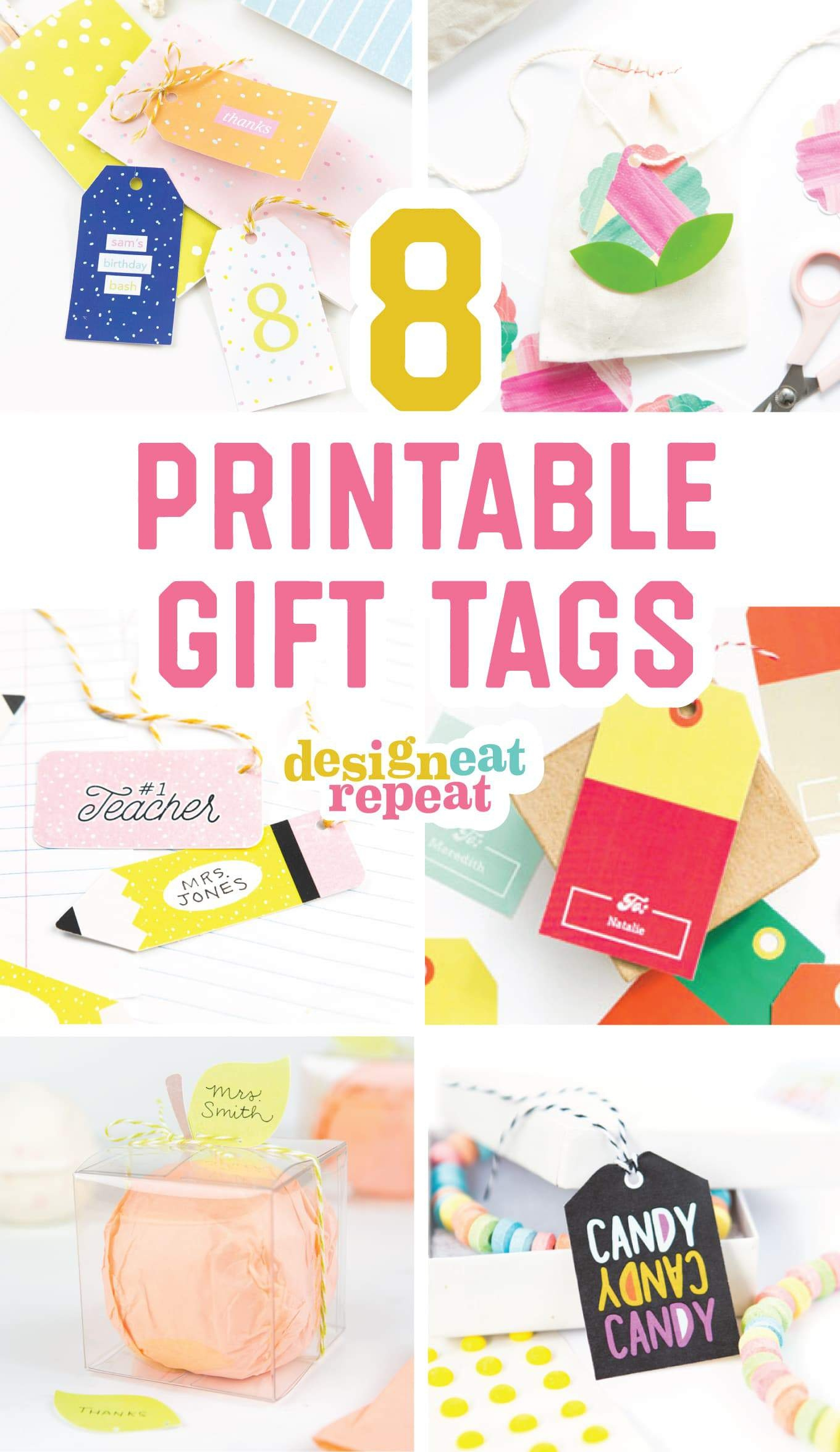 8 Colorful & Free Printable Gift Tags For Any Occasion! - Birthday Party Favor Tags Printable Free