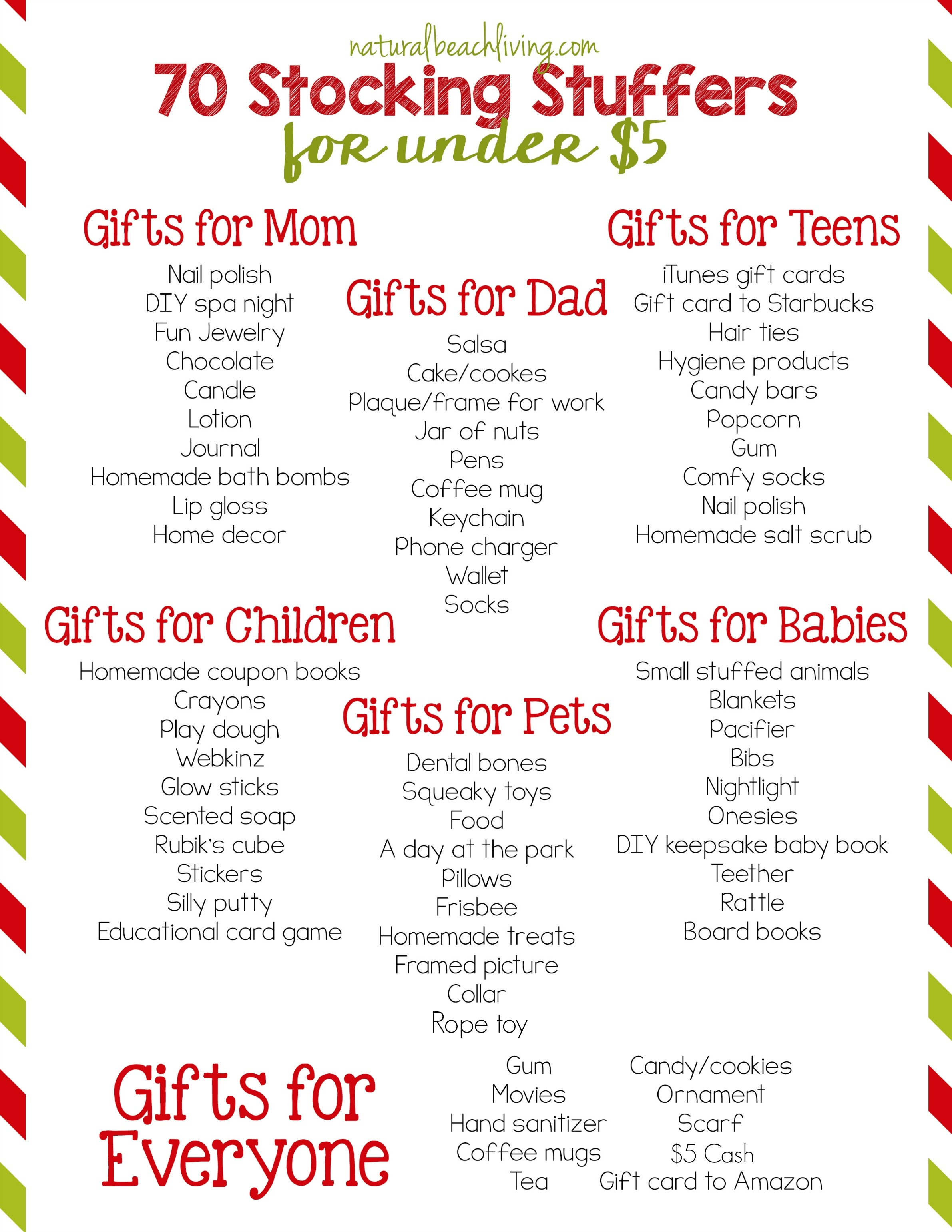 80 Super Stocking Stuffers For Under $5 - Natural Beach Living - Free Printable Stocking Stuffers