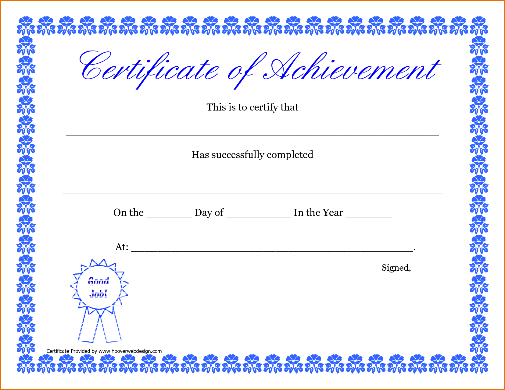 9+ Free Printable Certificates Of Completion   Job Resumes Word - Free Printable Certificate Of Completion
