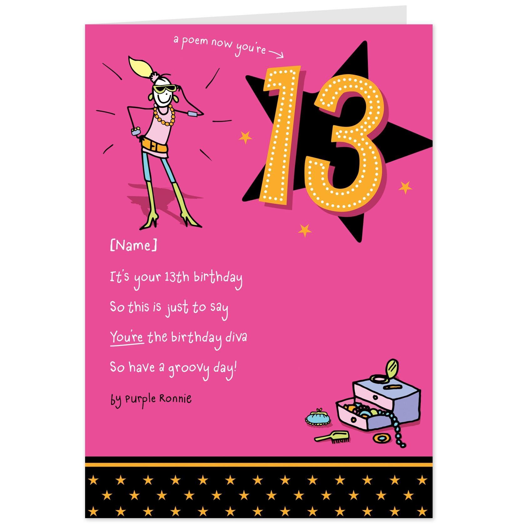 95+ 13Th Birthday Cards Printable Free - Free Birthday Card Template - 13Th Birthday Cards Printable Free