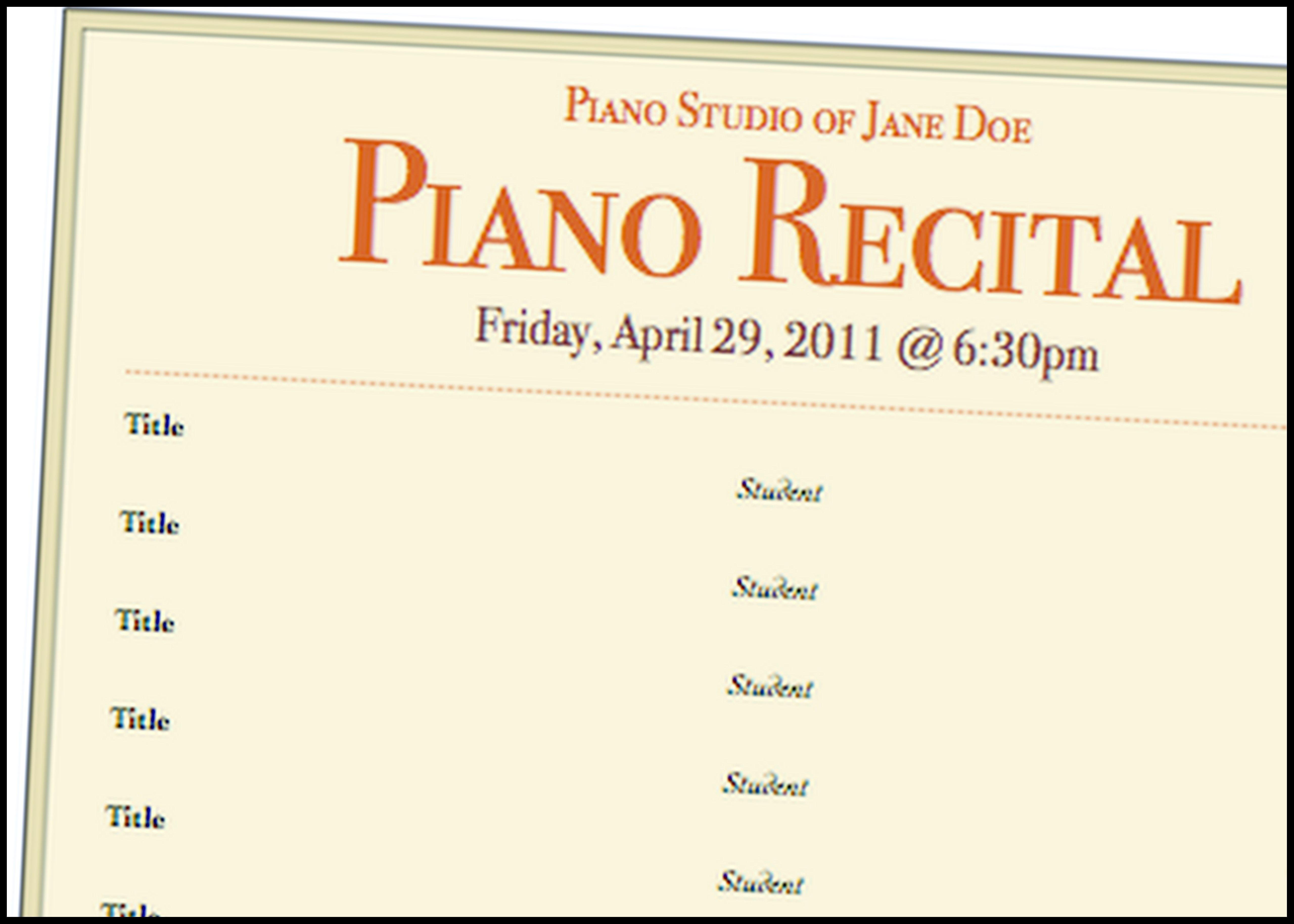 A Basic Piano Recital Program Template For Free! #music #teaching - Free Printable Piano Recital Certificates