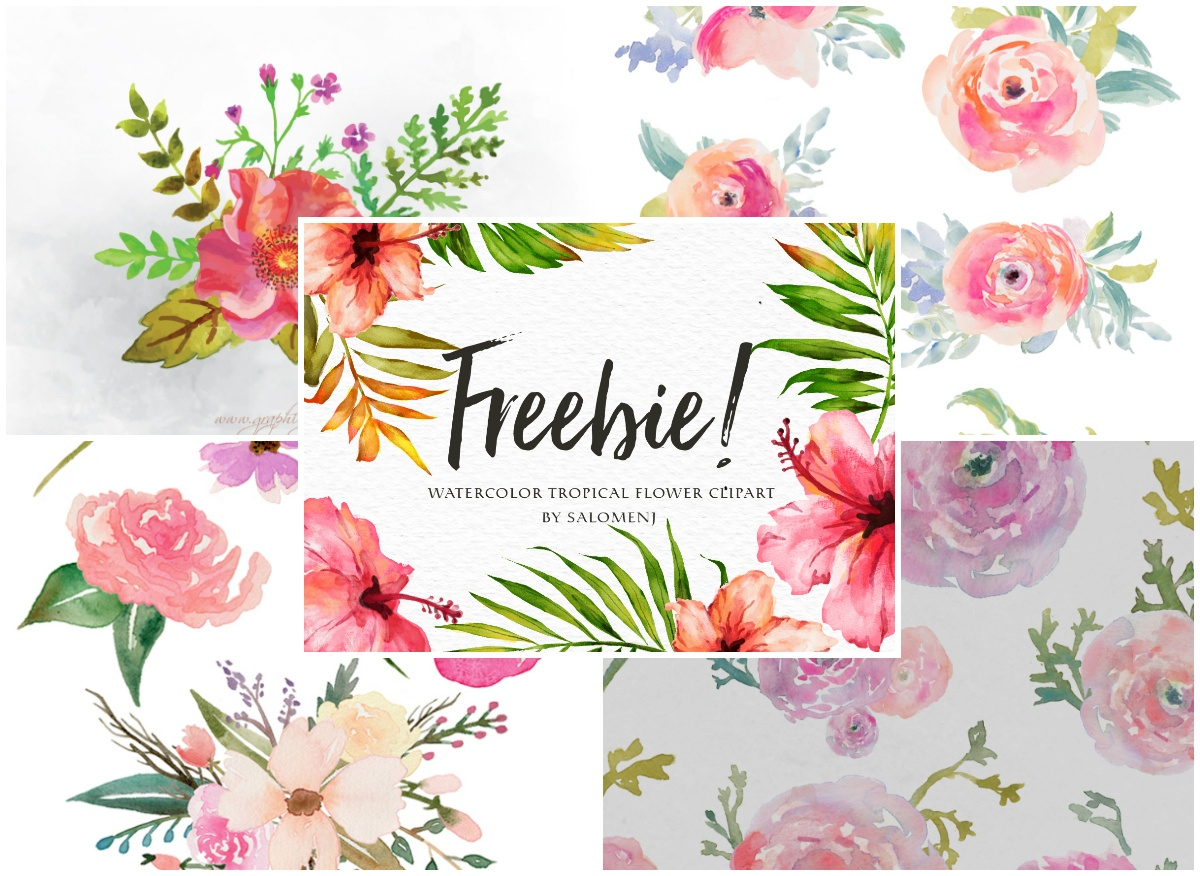 A Collection Of 240+ Free Watercolor Floral Elements - Floral Printables Free