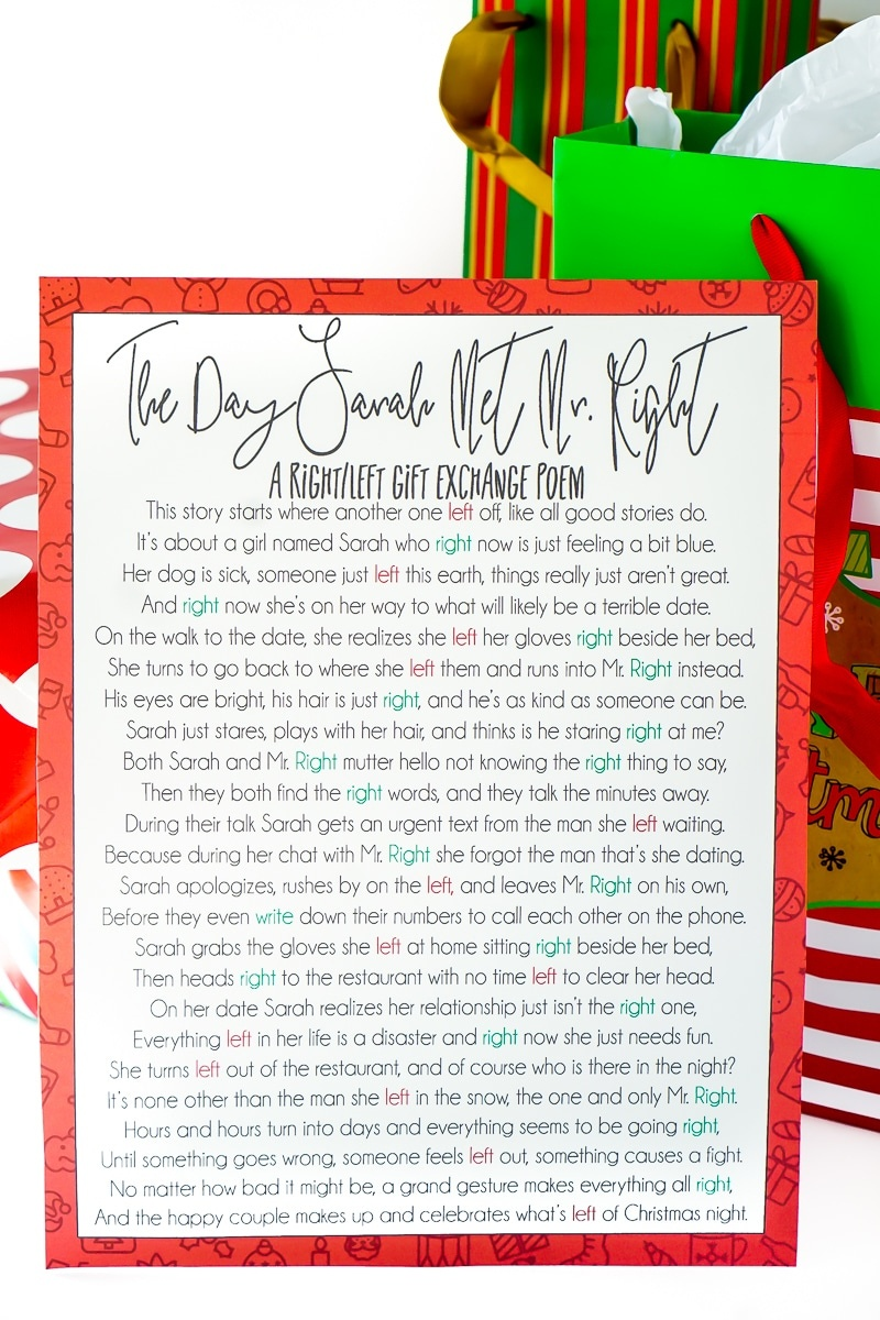 A Hilarious Left Right Christmas Poem & Gift Game - Play Party Plan - Free Printable Left Right Game