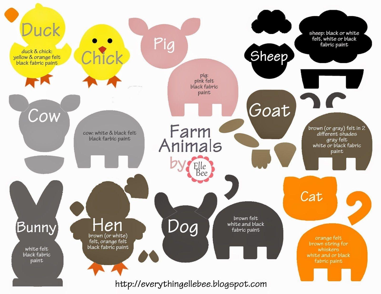 A Little Bit Of Everything : Free Printable Farm Animal Template - Free Printable Felt Patterns