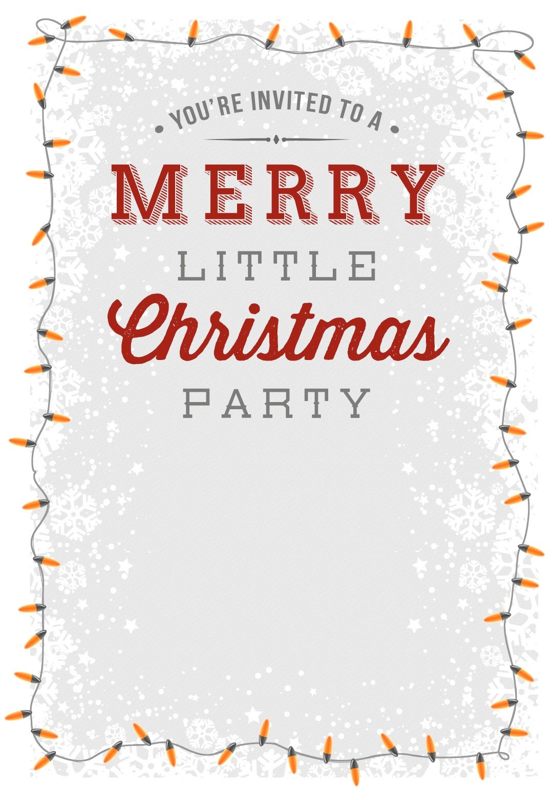 A Merry Little Party - Free Printable Christmas Invitation Template - Holiday Invitations Free Printable