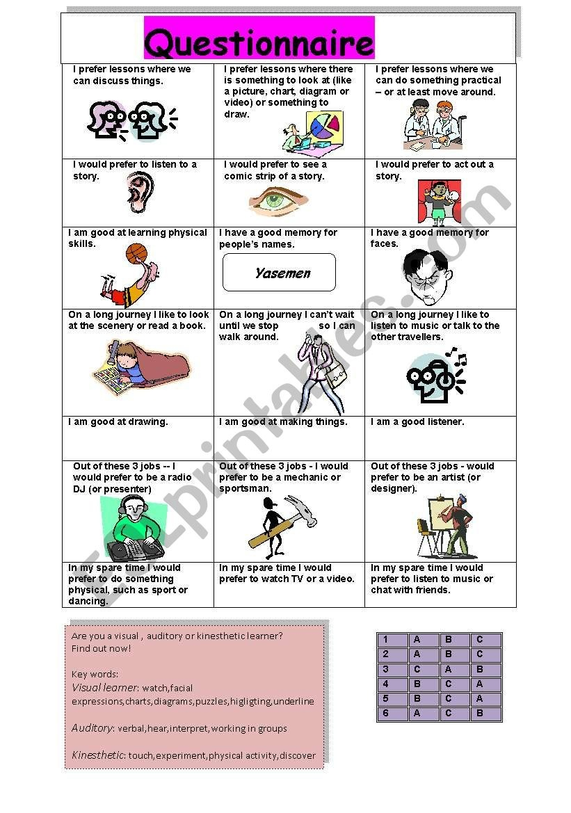 A Questionnaire About Learning Styles Such As Visual,auditory - Esl - Free Printable Learning Styles Questionnaire