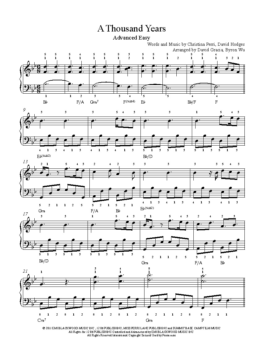 A Thousand Yearschristina Perri Piano Sheet Music | Advanced Level - Piano Sheet Music For Beginners Popular Songs Free Printable