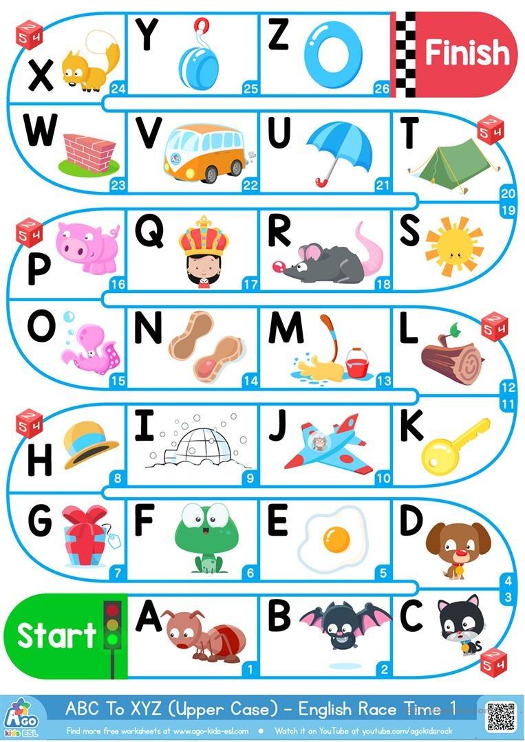 A-Z Upper Case Alphabet - Esl Board Game Worksheet - Free Esl - Free Printable Alphabet Games