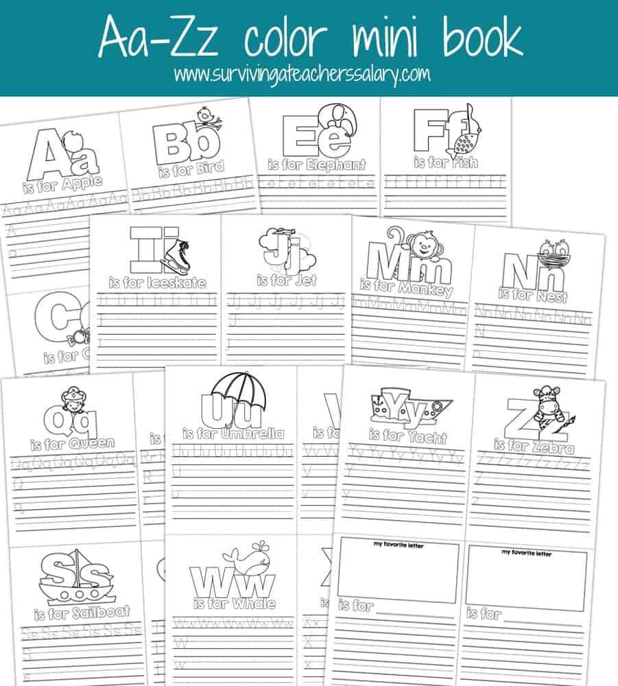 Aa-Zz Alphabet Letter Mini Color Book Practice Printable - Free Printable Abc Mini Books