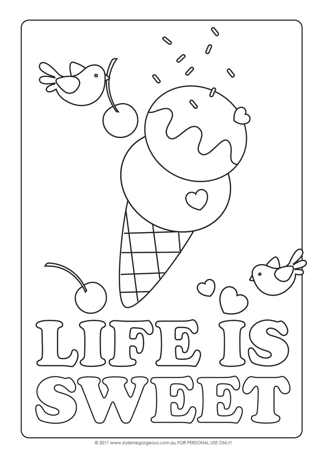 Abcs - Style Me Gorgeous: Life Is Sweet - Free Coloring Page - Ice Cream Color Pages Printable Free