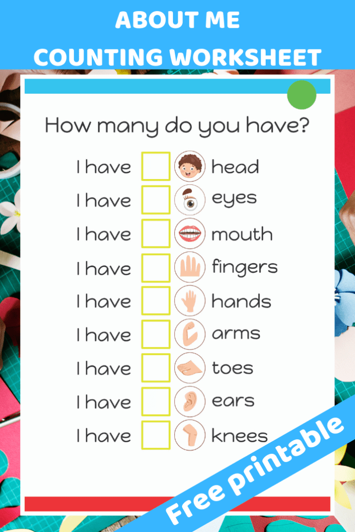 About Me Counting Worksheet | My Body | All About Me Preschool, God - God Made Me Free Printable