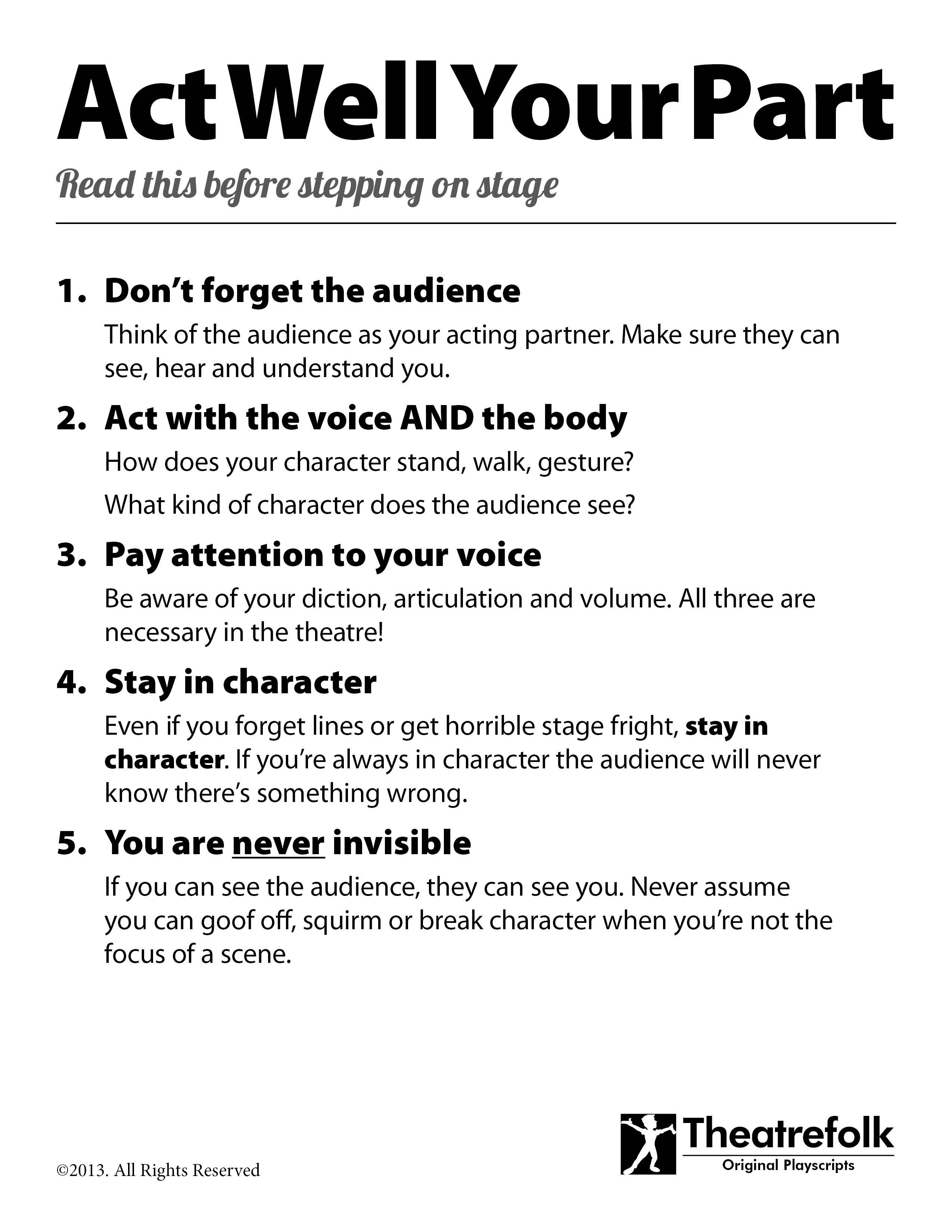Acting Tips Poster. Click To Download A Printable Version - Free Printable Musical Scripts