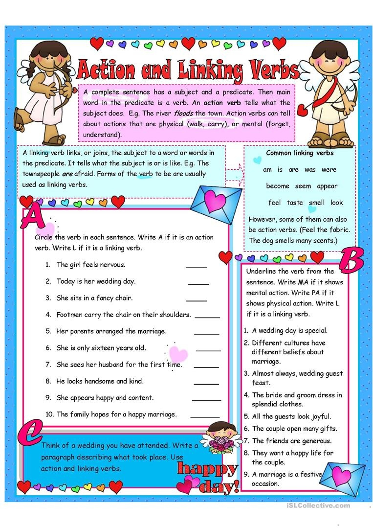 Action And Linking Verbs - 6 Activities Worksheet - Free Esl - Free Printable Linking Verbs Worksheets