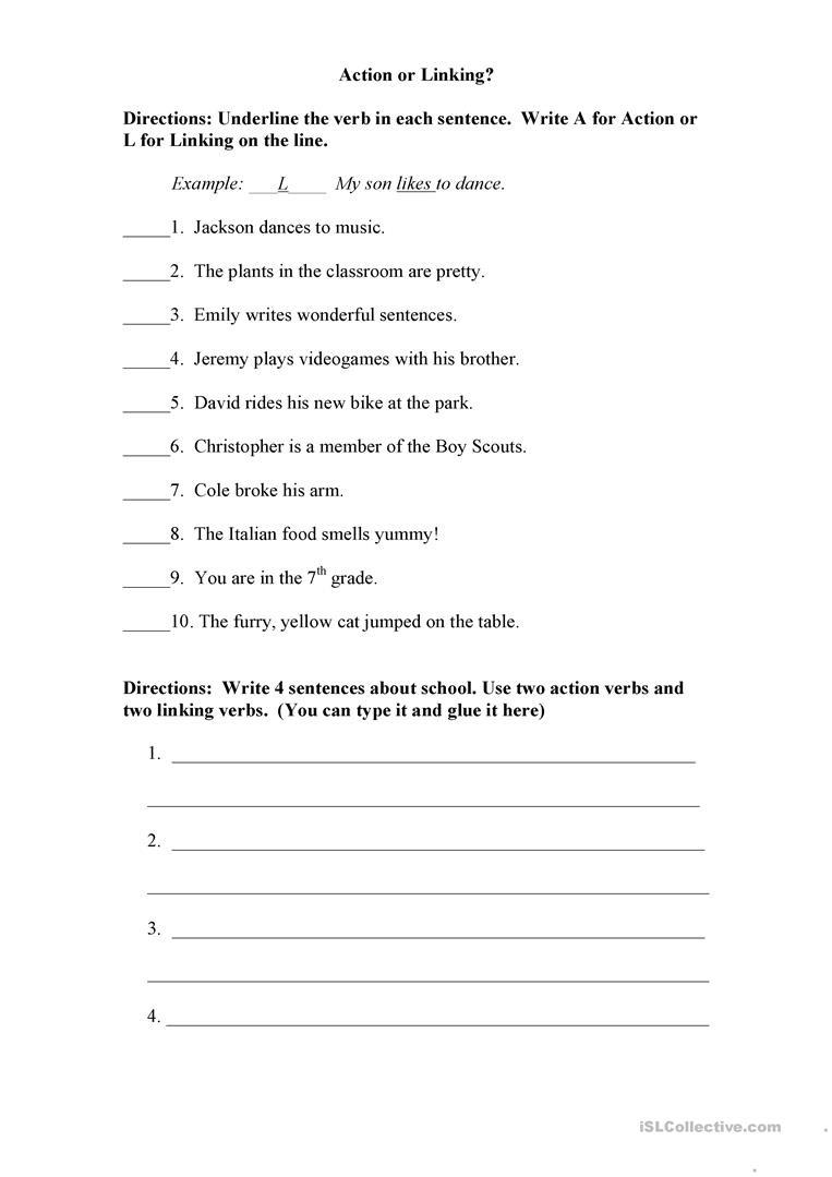 Action Or Linking Verb? Worksheet - Free Esl Printable Worksheets - Free Printable Linking Verbs Worksheets
