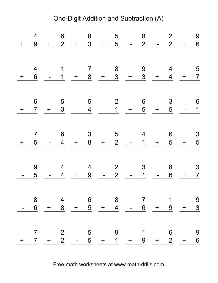 Adding And Subtracting Single-Digit Numbers (A) | Kid Stuff - Free Printable Mixed Addition And Subtraction Worksheets