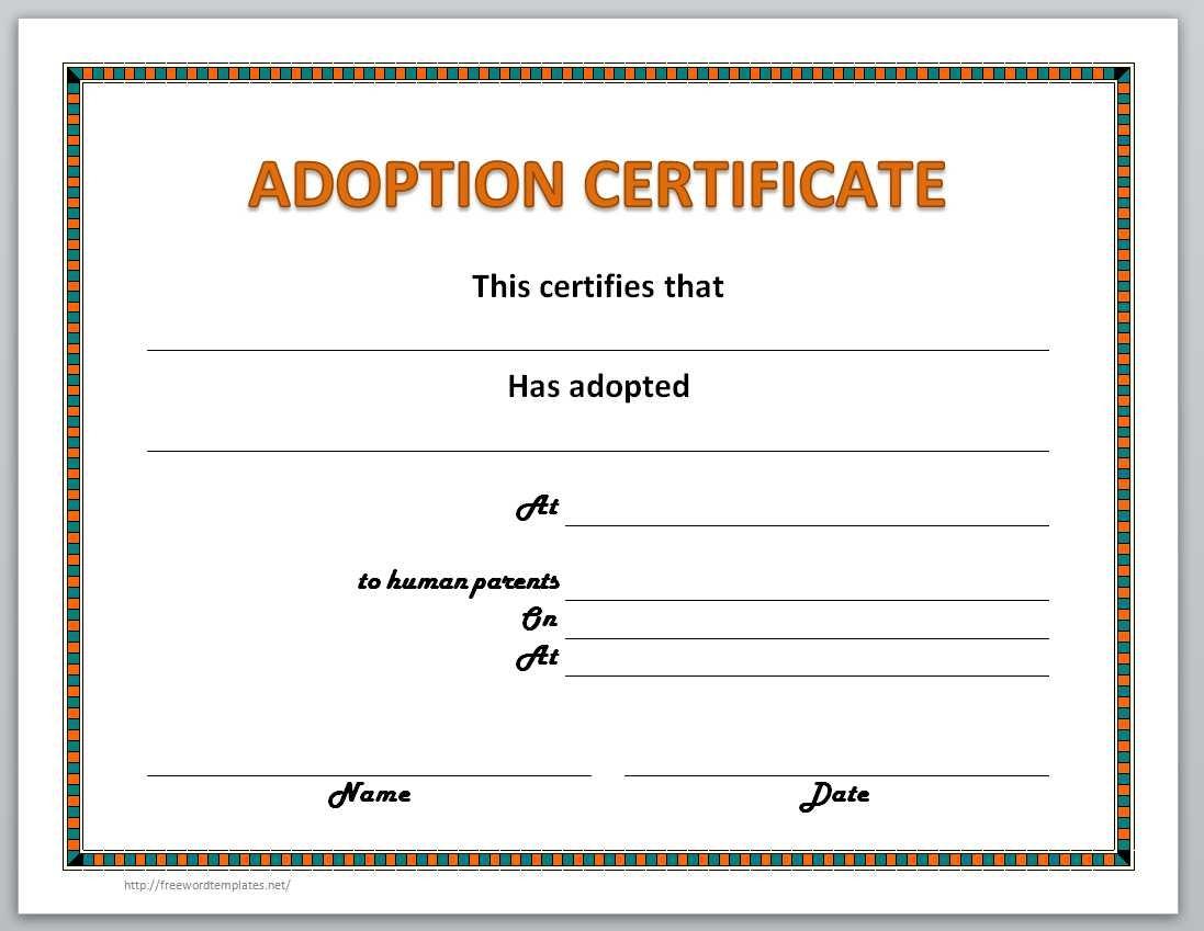 Adoption Certificate Template - Free Printable Adoption Certificate