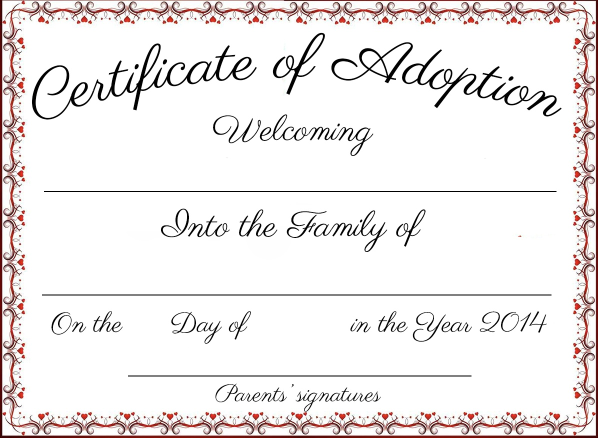 Adoption Certificate Template Word | Certificatetemplateword - Free Printable Adoption Certificate