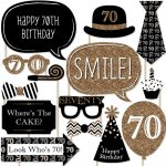 Adult 70Th Birthday   Gold   Birthday Party Photo Booth Props Kit   Free Printable 70's Photo Booth Props
