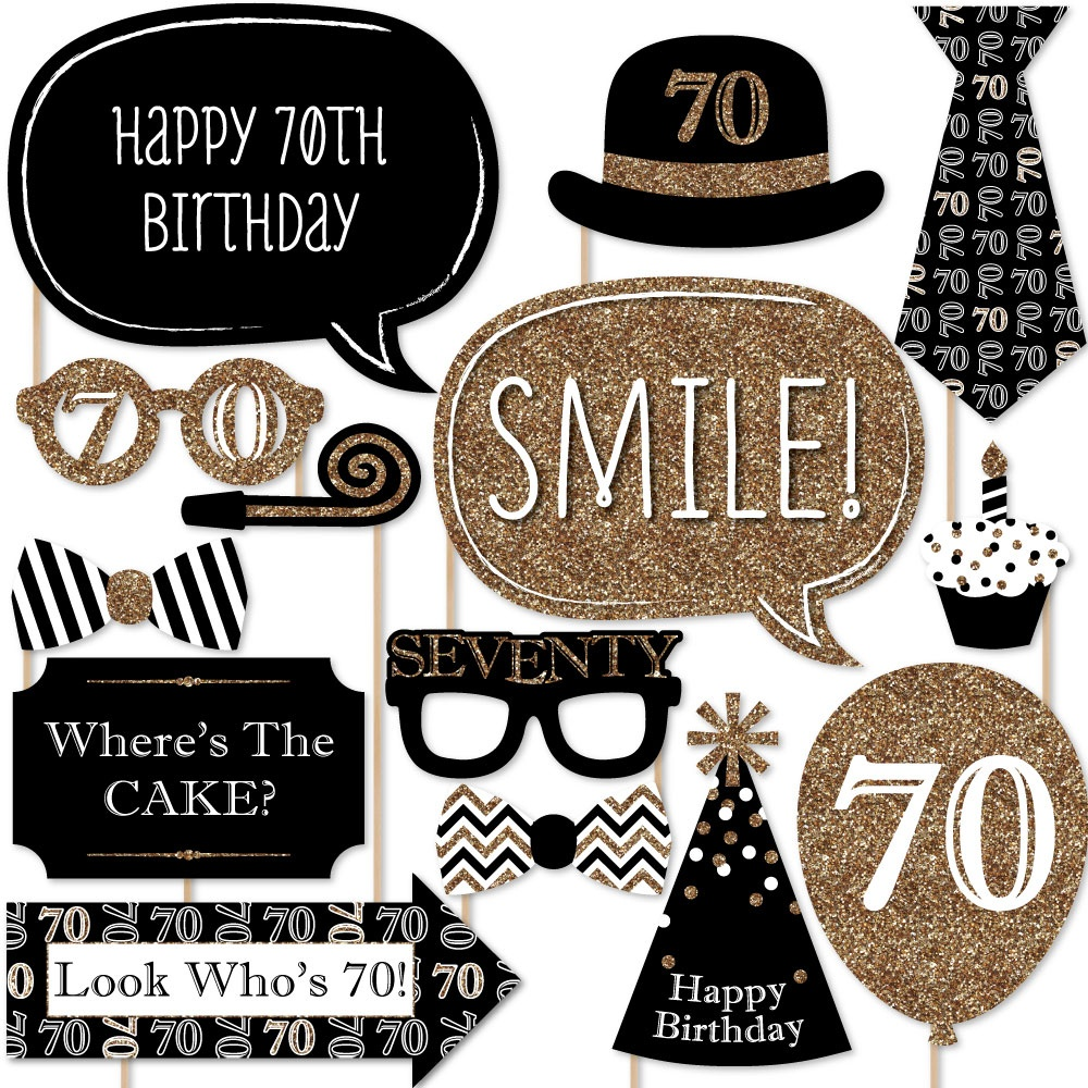 Adult 70Th Birthday - Gold - Birthday Party Photo Booth Props Kit - Free Printable 70's Photo Booth Props