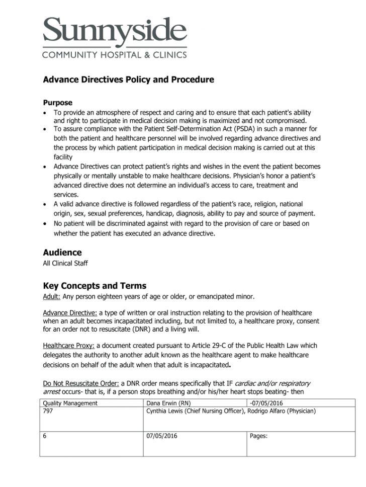 Free Printable Advance Directive Form