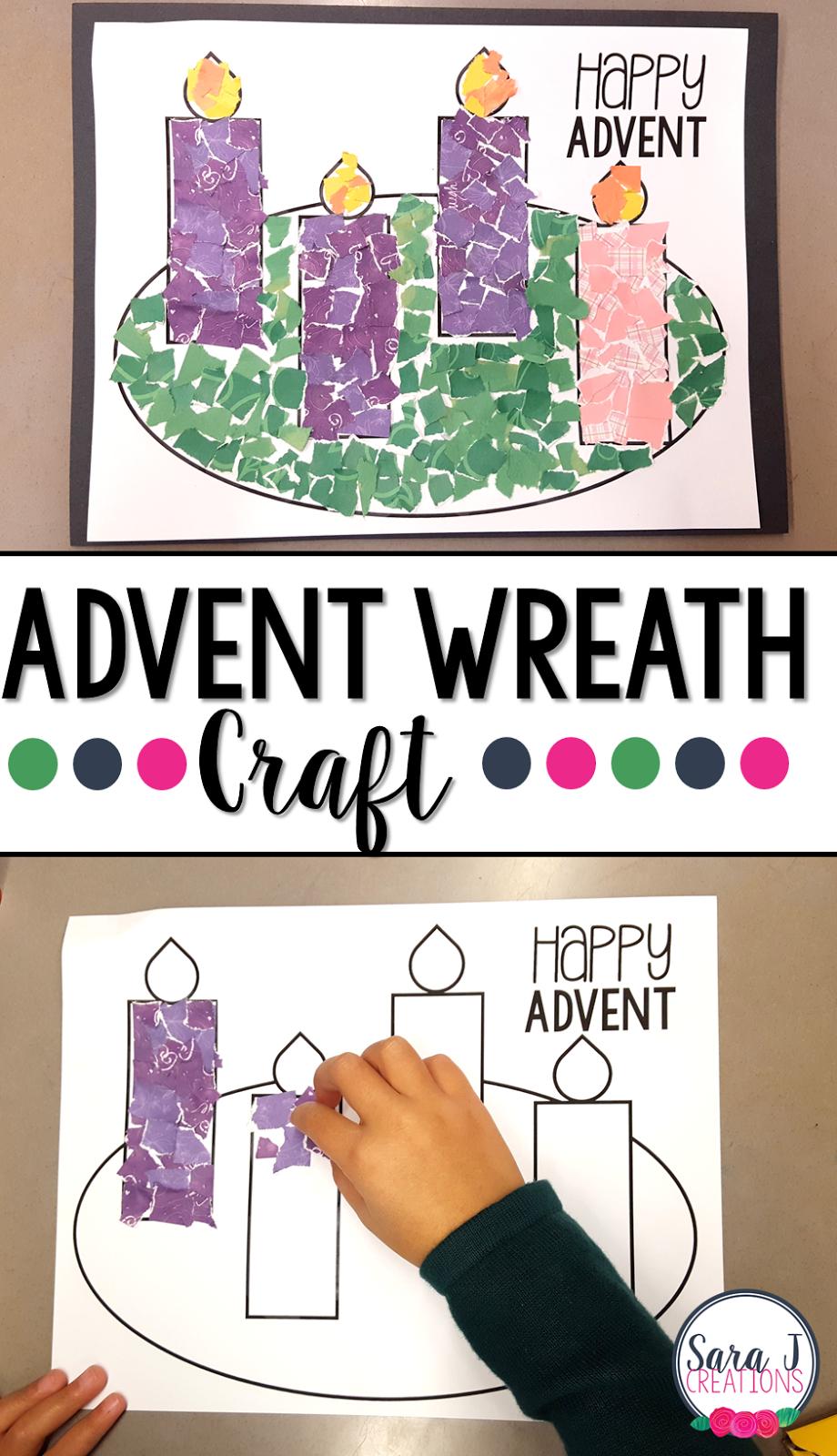 Advent Wreath Rip Art Craft   Christmas Craft   Christmas Crafts For - Free Printable Advent Wreath