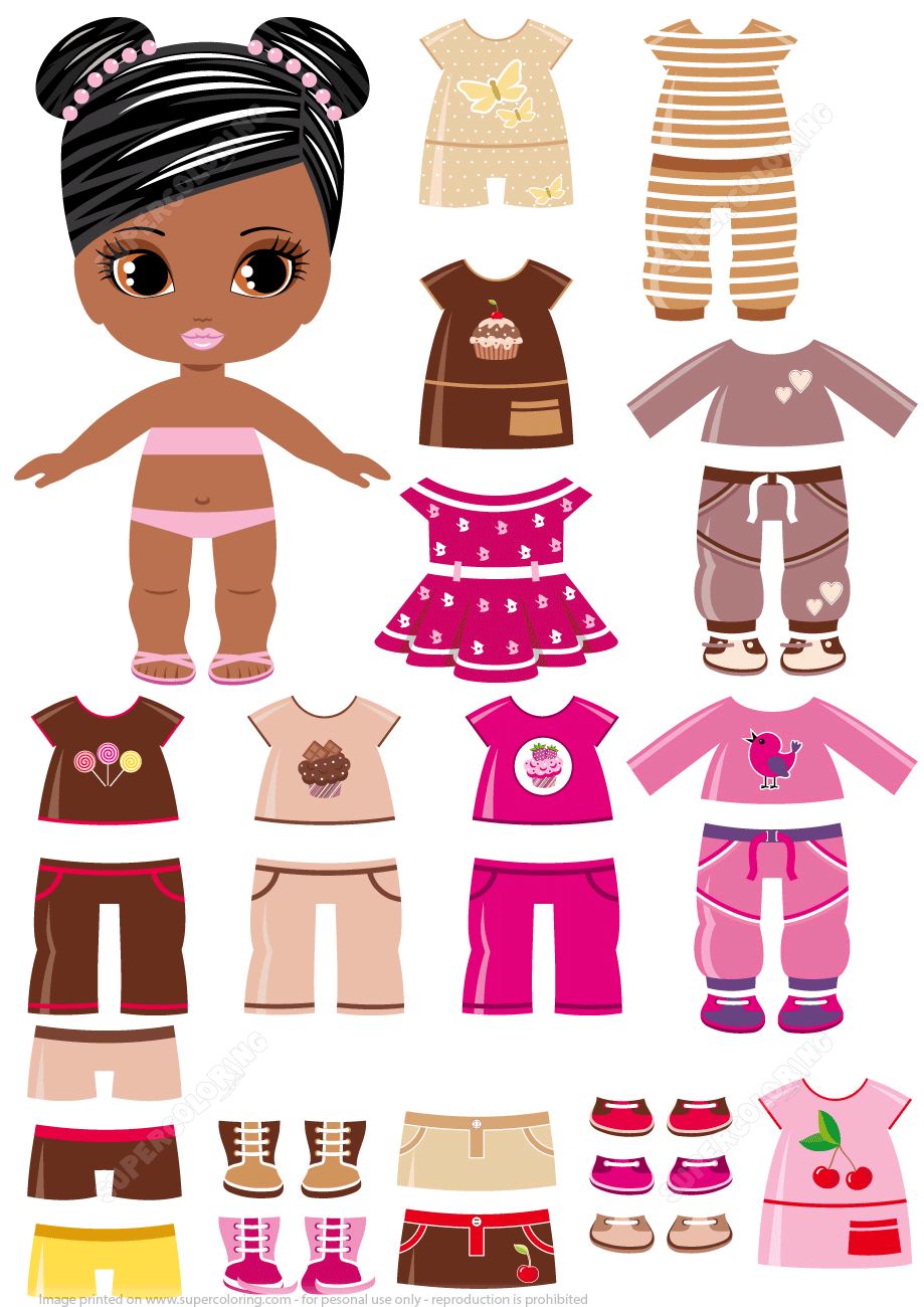 African-Amercian Girl With A Set Of Summer Clothing | Free Printable - Free Printable Dress Up Paper Dolls