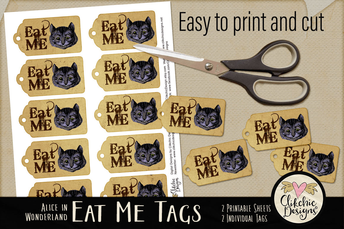 Alice In Wonderland Cheshire Cat Eat Me Printable Tags - Free Printable Alice In Wonderland Eat Me Tags