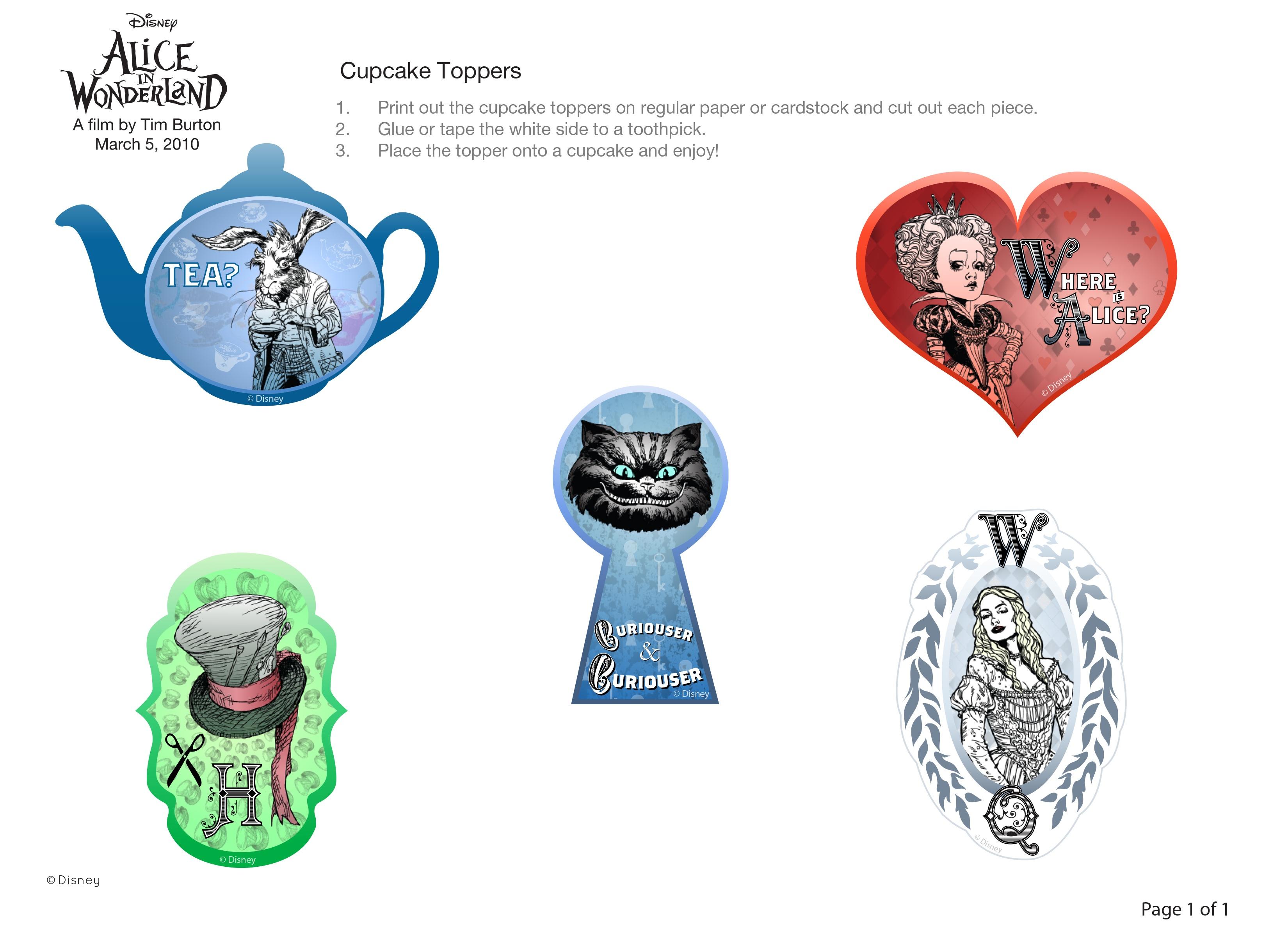Alice In Wonderland Cupcake Toppers | Disney Family - Alice In Wonderland Cupcake Toppers Free Printable