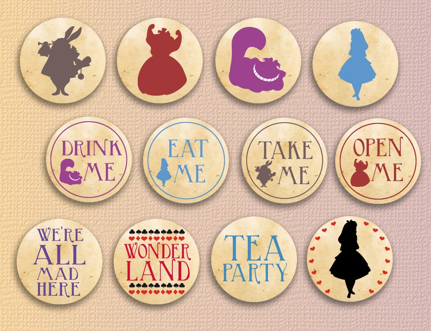 Alice In Wonderland Cupcake Toppers Party Printables   Etsy - Alice In Wonderland Cupcake Toppers Free Printable