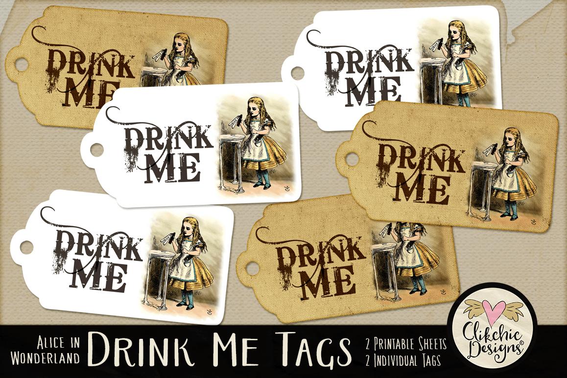 Alice In Wonderland Drink Me Printable Tags - Free Printable Alice In Wonderland Eat Me Tags