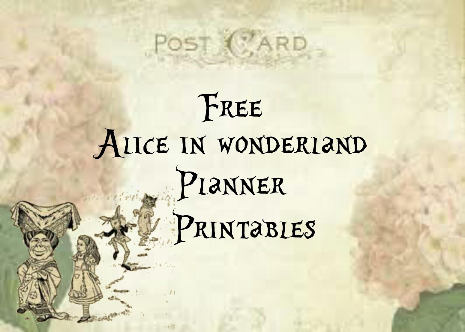 Alice In Wonderland : Free Planner Printables – Lorraine A Life Less - Alice In Wonderland Free Printables