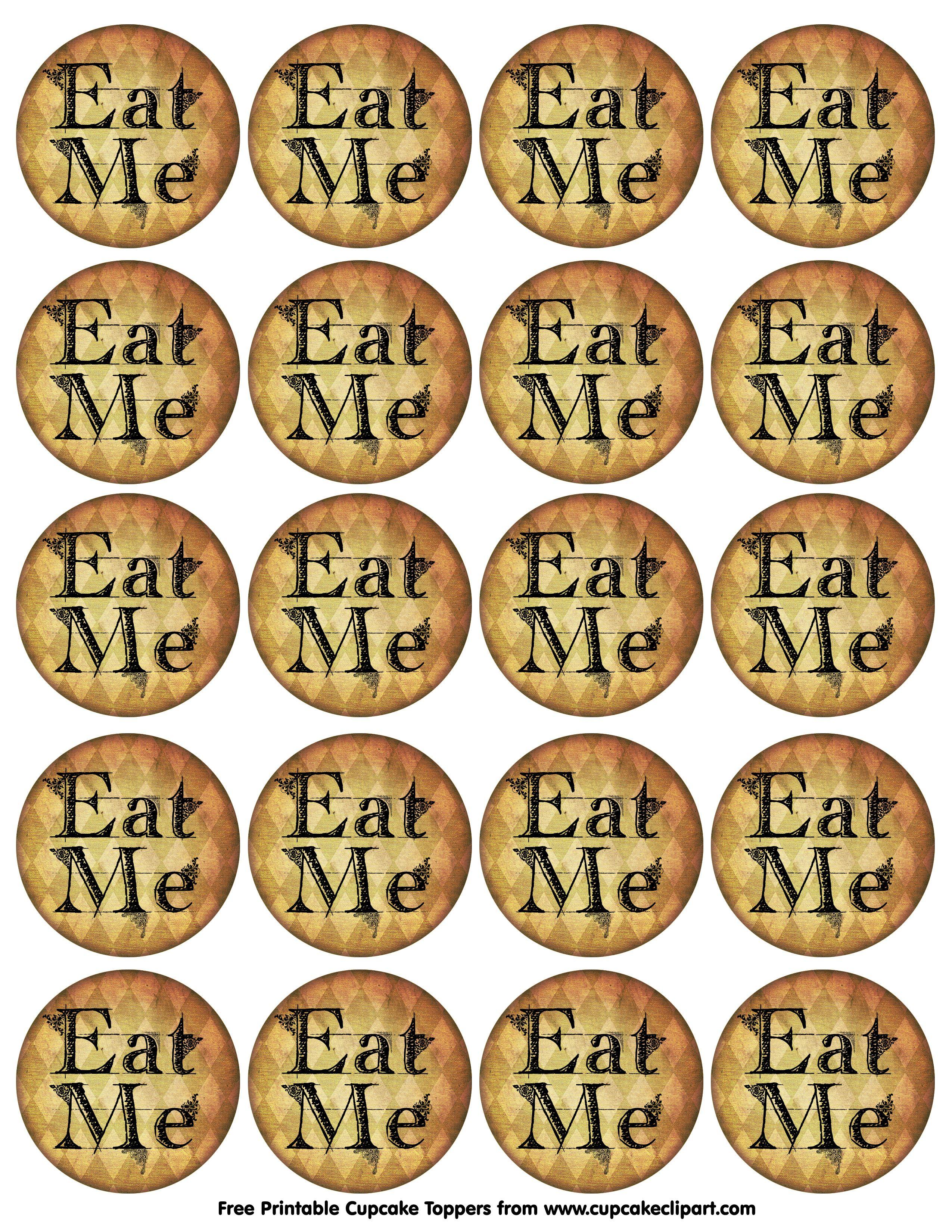 Alice In Wonderland Free Printables | Alice In Wonderland Cupcake - Free Printable Alice In Wonderland Eat Me Tags
