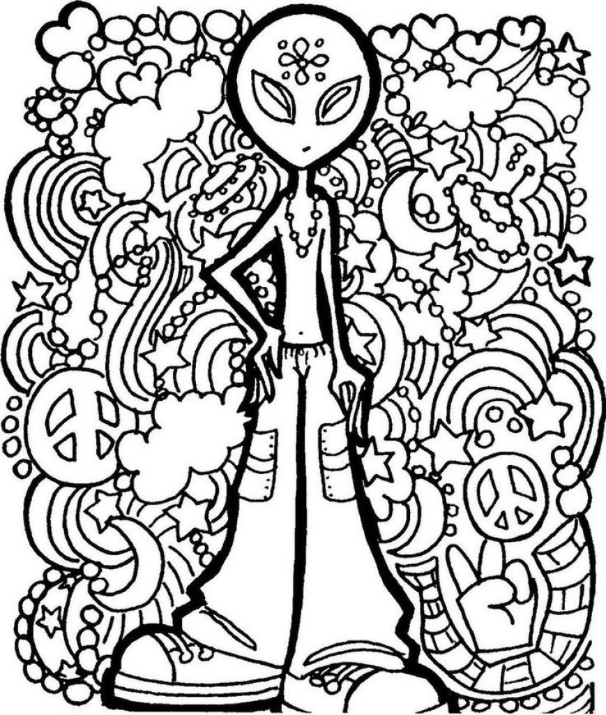 Alien Trippy Printable Coloring Page Free   Coloring Pages - Free Printable Trippy Coloring Pages