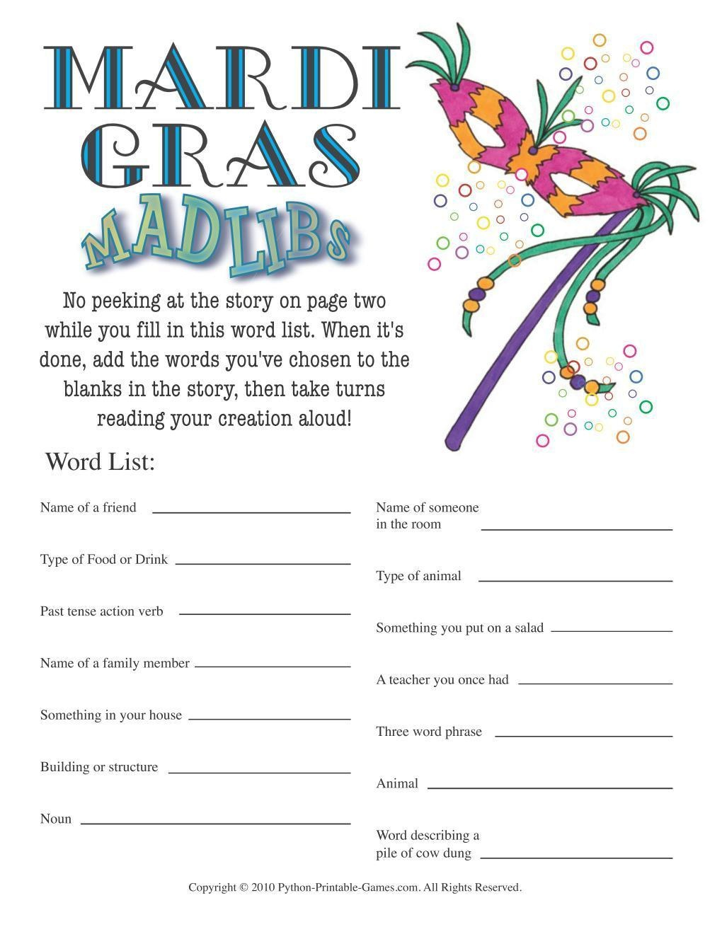 All Mardi Gras Games + Free Party Games - Free Printable Mardi Gras Games