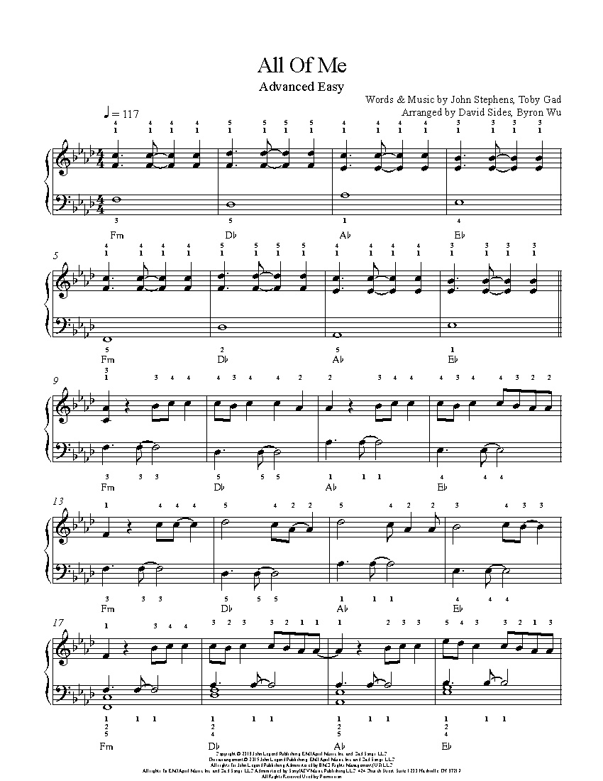 All Of Mejohn Legend Piano Sheet Music | Advanced Level - All Of Me Easy Piano Sheet Music Free Printable