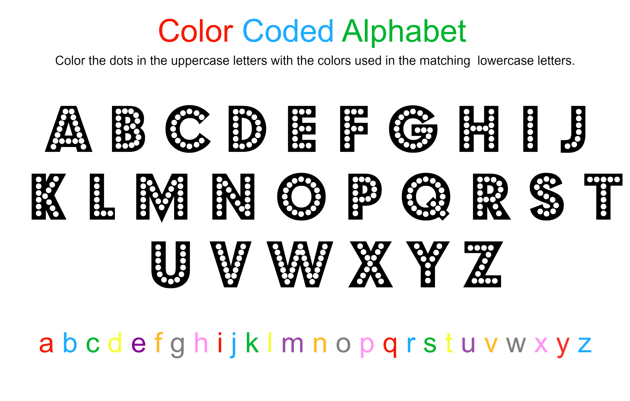 Alphabet Coloring Sheet - Free Printable - No Time For Flash Cards - Free Printable Colored Letters Of The Alphabet