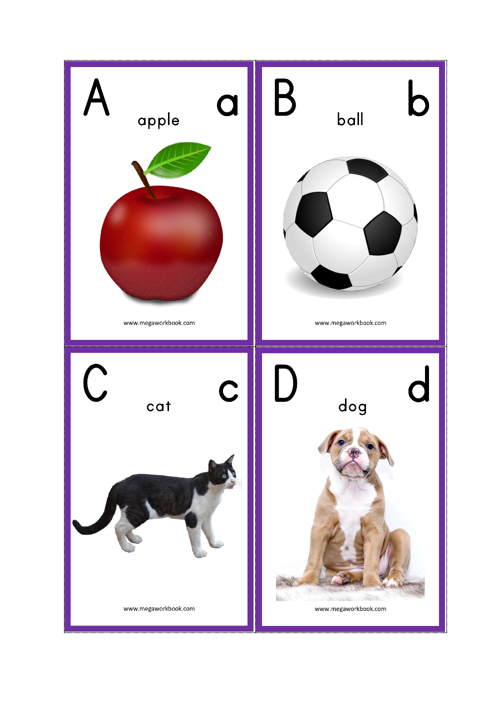 Alphabet Flash Cards - Abc Flash Cards - Letters With Pictures - Abc Flash Cards Free Printable