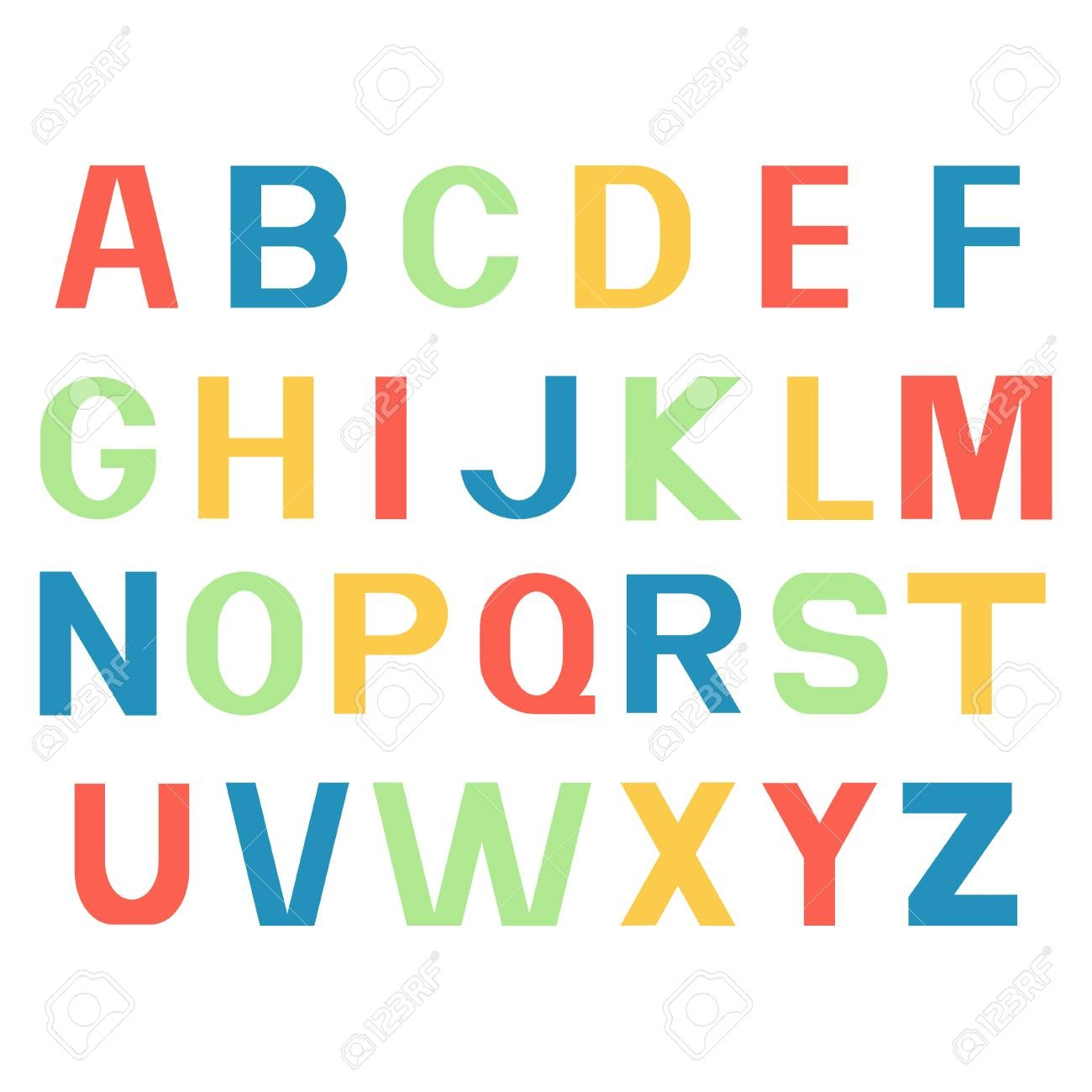 Alphabet Fonts. Printed Different Colour Letters. Royalty Free - Free Printable Colored Letters Of The Alphabet