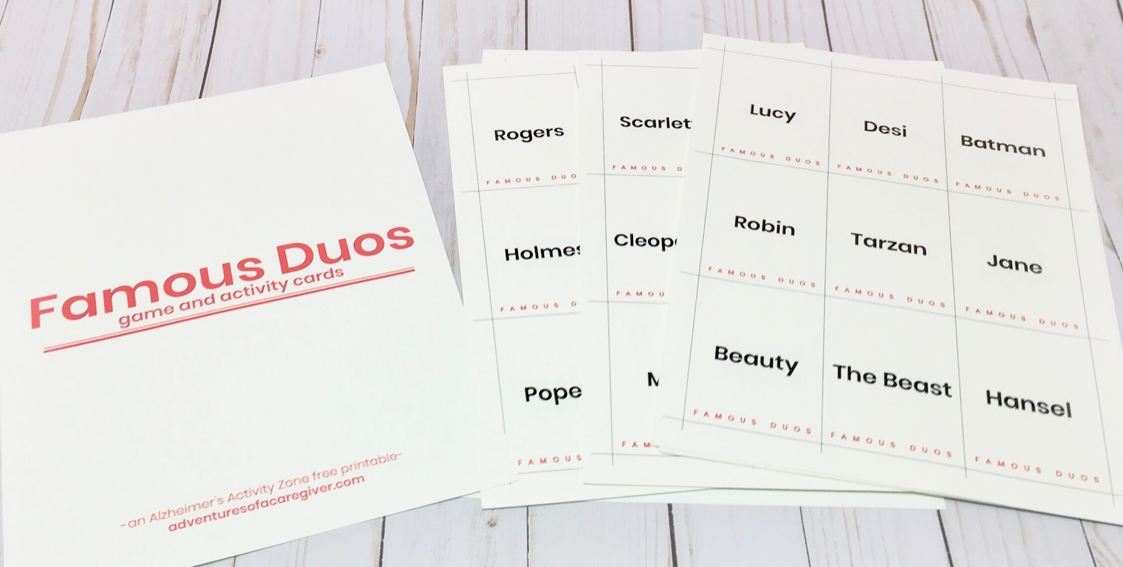 Alzheimer's Activity - Famous Duos Game Free Printable - Free Printable Activities For Dementia Patients