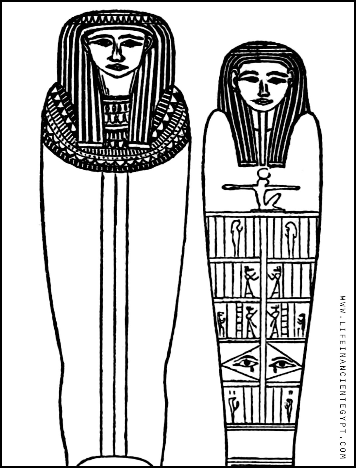 Ancient Egypt Sarcophagus Coloring Page (Man And Woman Married Mummy - Free Printable Sarcophagus
